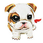Funny Puppy Hand Painted Watercolor  Poster
