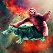 Funny Space Sloth Riding On Turtle Poster