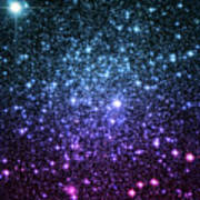 Galaxy Stars Teal Violet Pink Poster