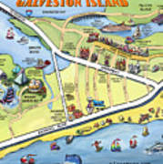 Galveston Texas Cartoon Map Poster