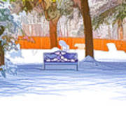 Garden  Bench With Snow Poster