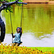 Garden Swing By The River Poster