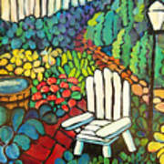 Garden With Lamp By Peggy Johnson Poster