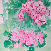Garden With Pink Flowers Poster