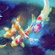 Garland Of Koi Fishes Poster