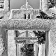 Gate To Ranchos Church Black And White Poster