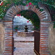 Gate To The Sacred Garden And Bell Wall Mission San Juan Capistrano California Poster