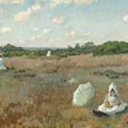Gathering Autumn Flowers By William Merritt Chase Poster