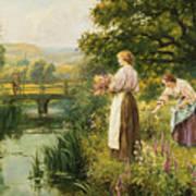 Gathering Spring Flowers Poster