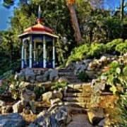 Gazebo And Garden  On A Hillside  Poster