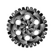 Gearwheel In Black And White Poster