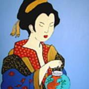 Geisha With Fish Poster