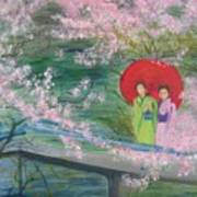 Geishas And Cherry Blossom Poster