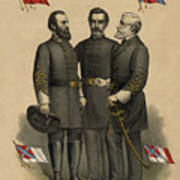 Generals Jackson Beauregard And Lee Poster by War Is Hell Store