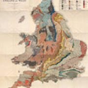 Geological Map Of England And Wales - Historical Relief Map - Antique Map - Historical Atlas Poster