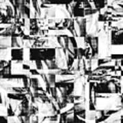 Geometric Confusion - Black And White Poster