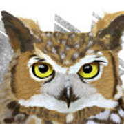 Geometric Great Horned Owl Poster