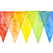 Geometric Watercolor Pattern Rainbow Triangles Poster