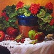 Geraniums And Apples Poster