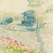 Geraniums By The Lake Poster