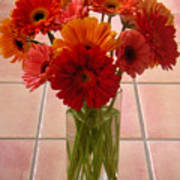 Gerbera Daisies - On Tile Poster