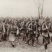 German And Austrian Soldiers Marching Poster