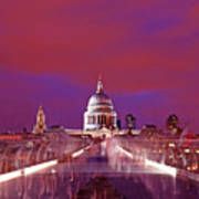 Ghostly Commuters Head To St Pauls On Millennium Bridge Poster