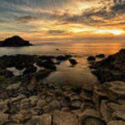 Giants Causeway Sunset Poster