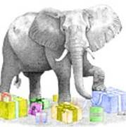 Gift Wrapping Elephant Poster