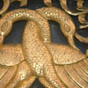 Gilded Temple Carving Of Geese Poster