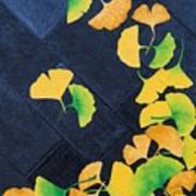 Ginkgo Leaves On Pavement Poster