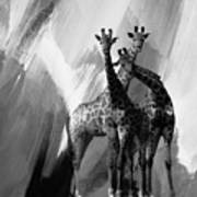 Giraffe Abstract Art Black And White Poster