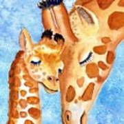 Giraffe Baby And Mother Poster