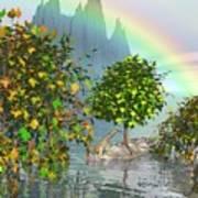 Giraffe Rainbow Heaven Poster