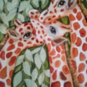 Giraffe Trio By Christine Lites Poster