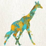 Giraffe Watercolor Art Poster