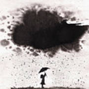 Girl And Ink Cloud Rain Poster