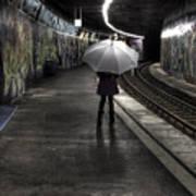 Girl At Subway Station Poster