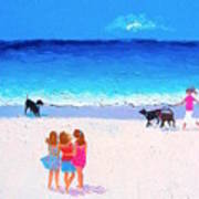 Girl Friends - Beach Painting Poster