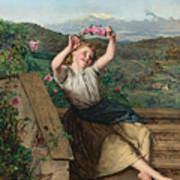 Girl Holding Up A Wreath Of Roses Poster
