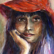Girl In A Red Hat Portrait Poster