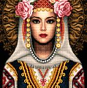 Girl In Bulgarian National Costume Poster