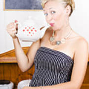 Girl In Cafe Serving Hot Coffee With Heart Teapot Poster
