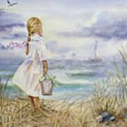 Girl And Ocean Watercolor Poster