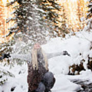 Girl Playing In The Snow In The Woods Poster