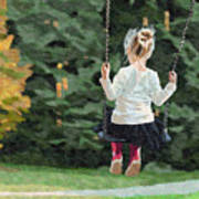 Girl Playing Outside Poster