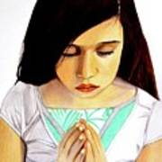 Girl Praying Drawing Portrait By Saribelle Poster
