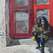 Girl Sitting At Red Doorstep Poster
