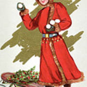 Girl Throwing Snowballs In A Christmas Landscape Poster