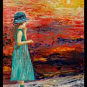 Girl Watching Sunset Poster